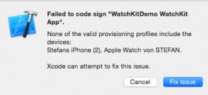 WatchKit Error Message