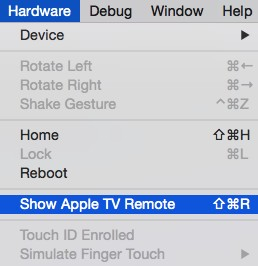 tvOS Simulator Remote Control